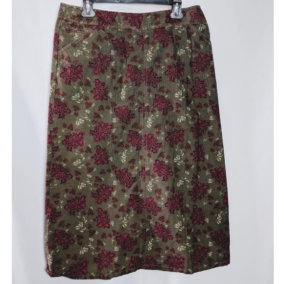Eddie Bauer Dresses & Skirts - Eddie Bauer Green Floral Corduroy A Line Skirt 10